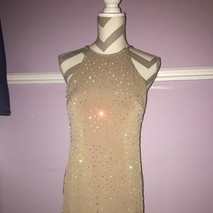 Tan Jeweled Jovani Prom Dress